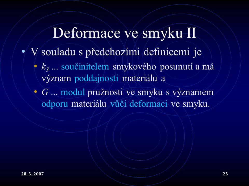 Deformace ve smyku II V souladu s předchozími definicemi je