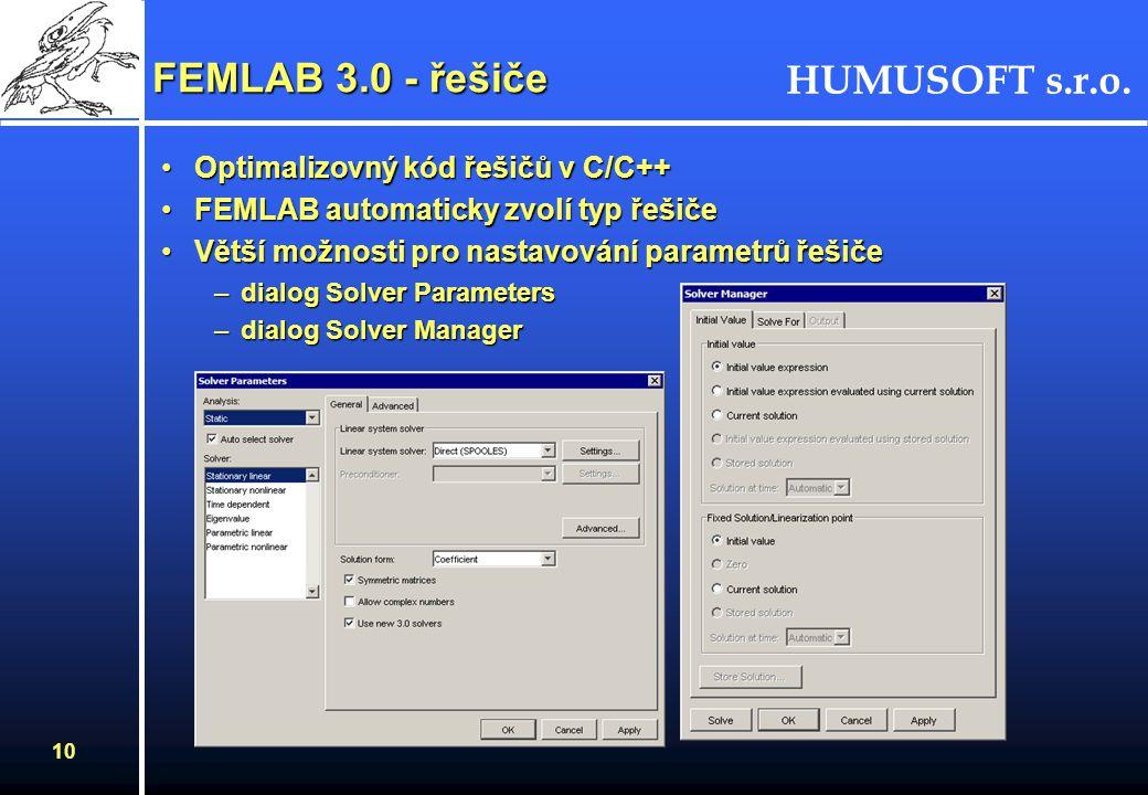 FEMLAB 3.0 - řešiče Optimalizovný kód řešičů v C/C++
