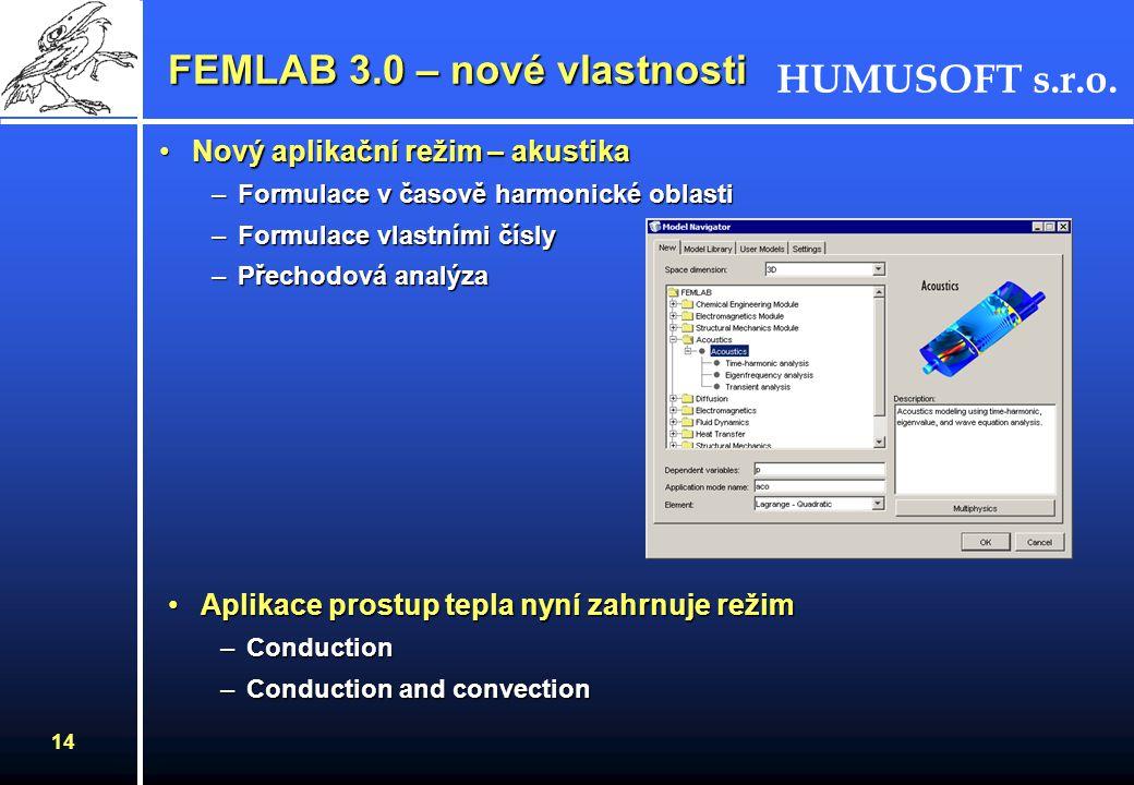 FEMLAB 3.0 – nové vlastnosti