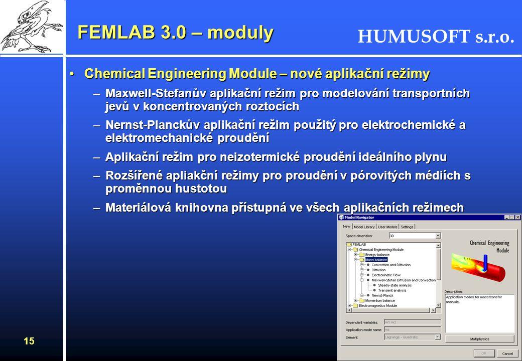 FEMLAB 3.0 – moduly Chemical Engineering Module – nové aplikační režimy.