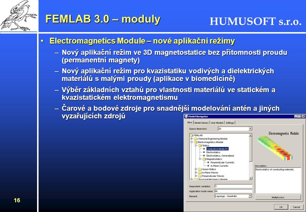FEMLAB 3.0 – moduly Electromagnetics Module – nové aplikační režimy