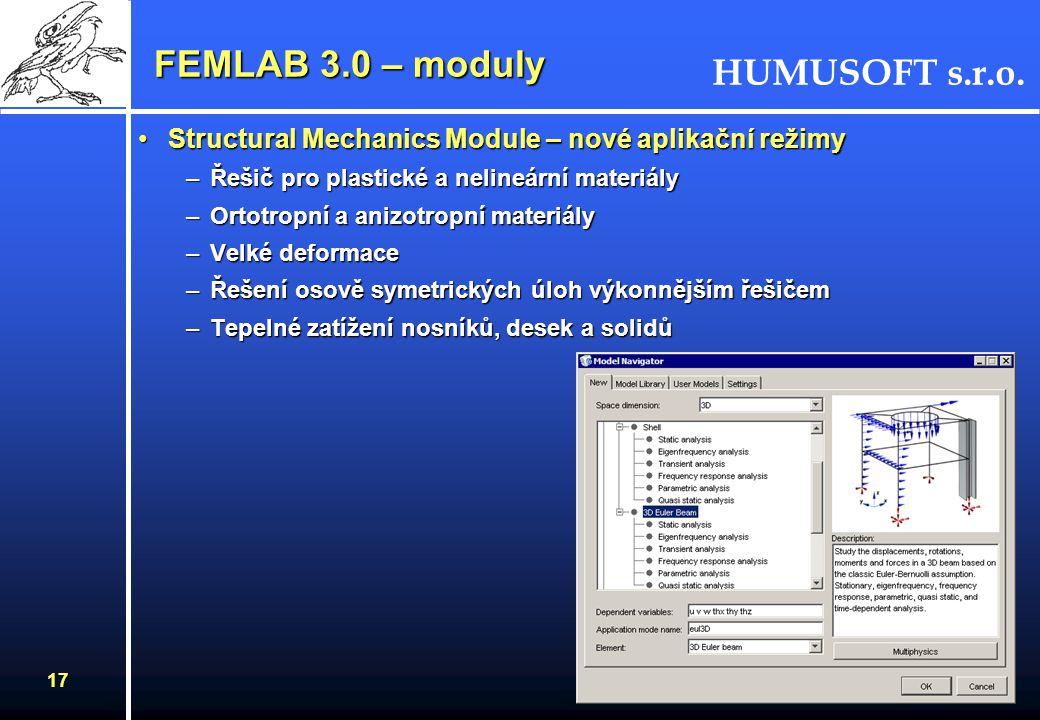 FEMLAB 3.0 – moduly Structural Mechanics Module – nové aplikační režimy. Řešič pro plastické a nelineární materiály.