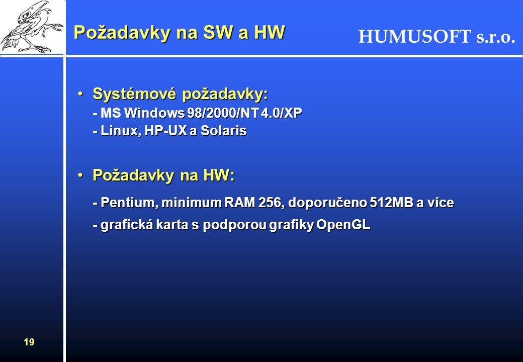 Požadavky na SW a HW Systémové požadavky: - MS Windows 98/2000/NT 4.0/XP - Linux, HP-UX a Solaris. Požadavky na HW: