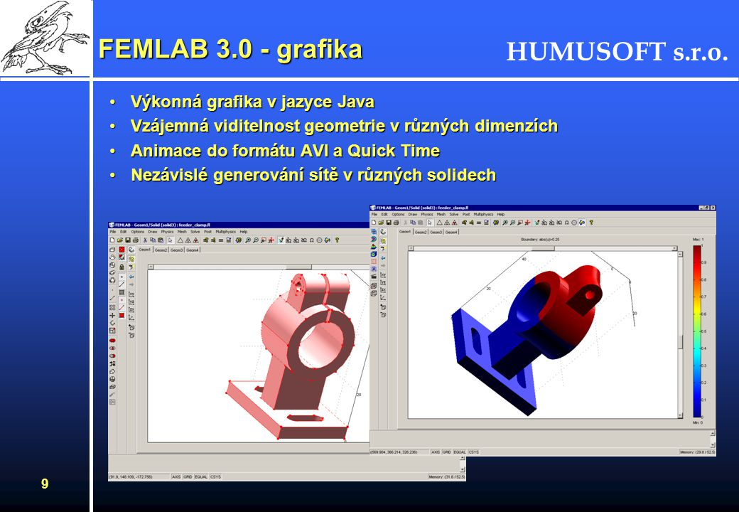 FEMLAB 3.0 - grafika Výkonná grafika v jazyce Java