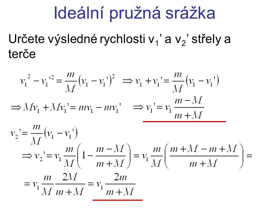 Ideální pružná srážka Určete výsledné rychlosti v1' a v2' střely a terče