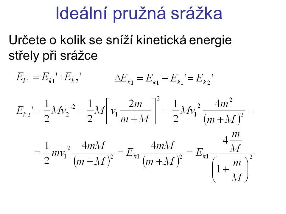 Ideální pružná srážka Určete o kolik se sníží kinetická energie střely při srážce