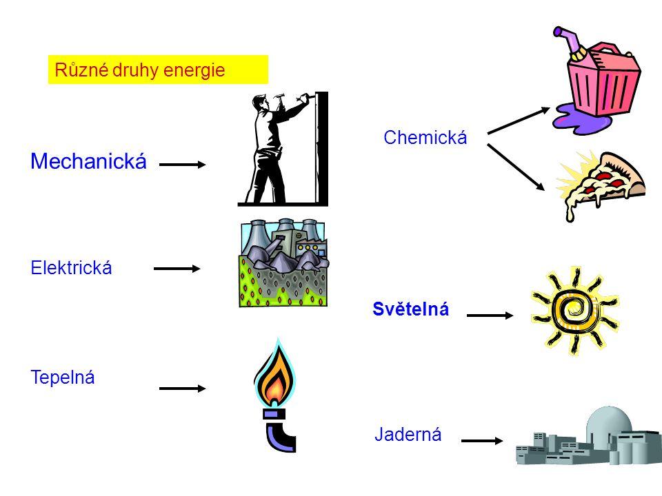 Mechanická Různé druhy energie Chemická Elektrická Světelná Tepelná