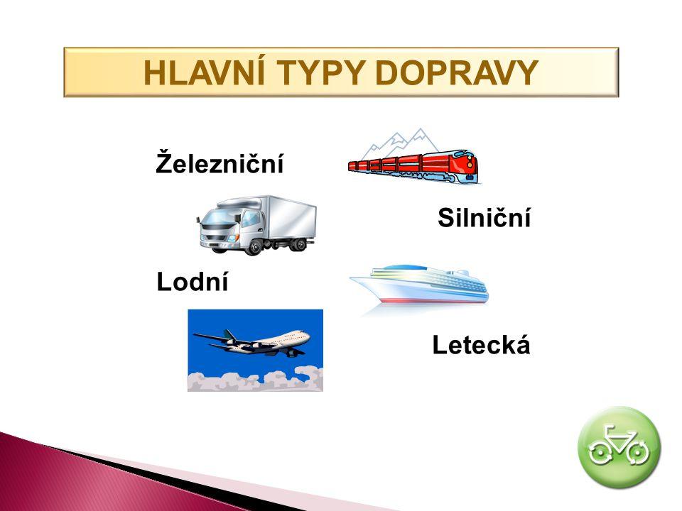 HLAVNÍ TYPY DOPRAVY Železniční Silniční Lodní Letecká