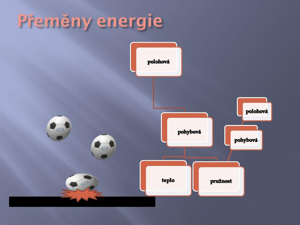 Přeměny energie polohová pohybová pružnost teplo