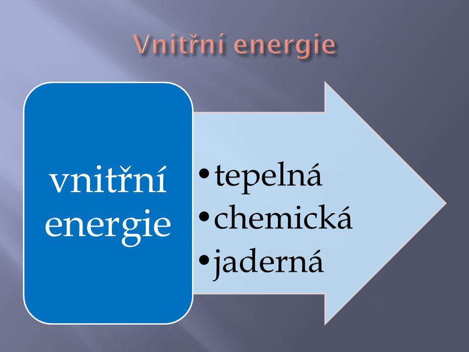 Vnitřní energie vnitřní energie tepelná chemická jaderná