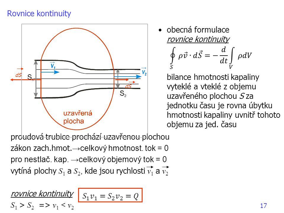 Rovnice kontinuity obecná formulace. rovnice kontinuity.
