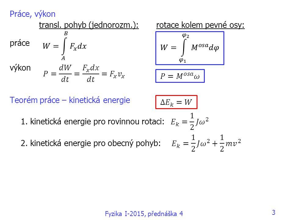 transl. pohyb (jednorozm.): rotace kolem pevné osy: práce