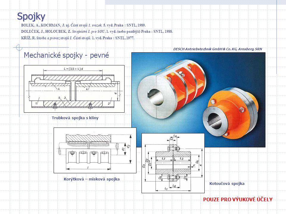Spojky Mechanické spojky - pevné POUZE PRO VÝUKOVÉ ÚČELY