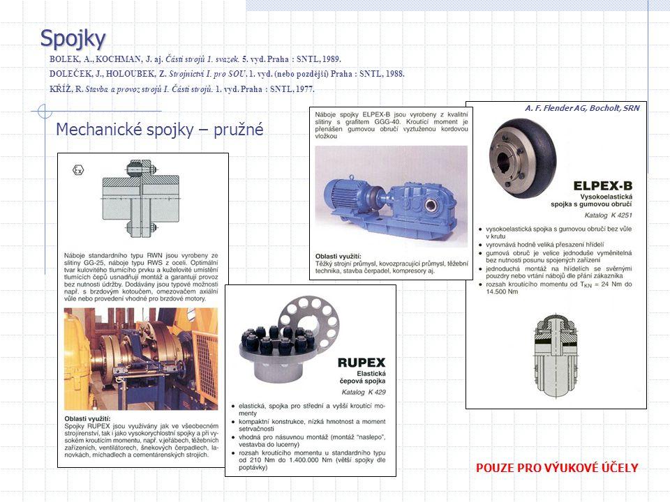 Spojky Mechanické spojky – pružné POUZE PRO VÝUKOVÉ ÚČELY