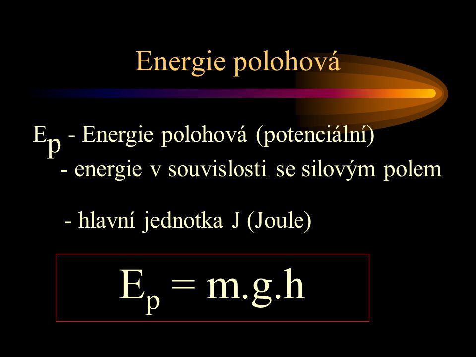 Ep = m.g.h Energie polohová Ep - Energie polohová (potenciální)