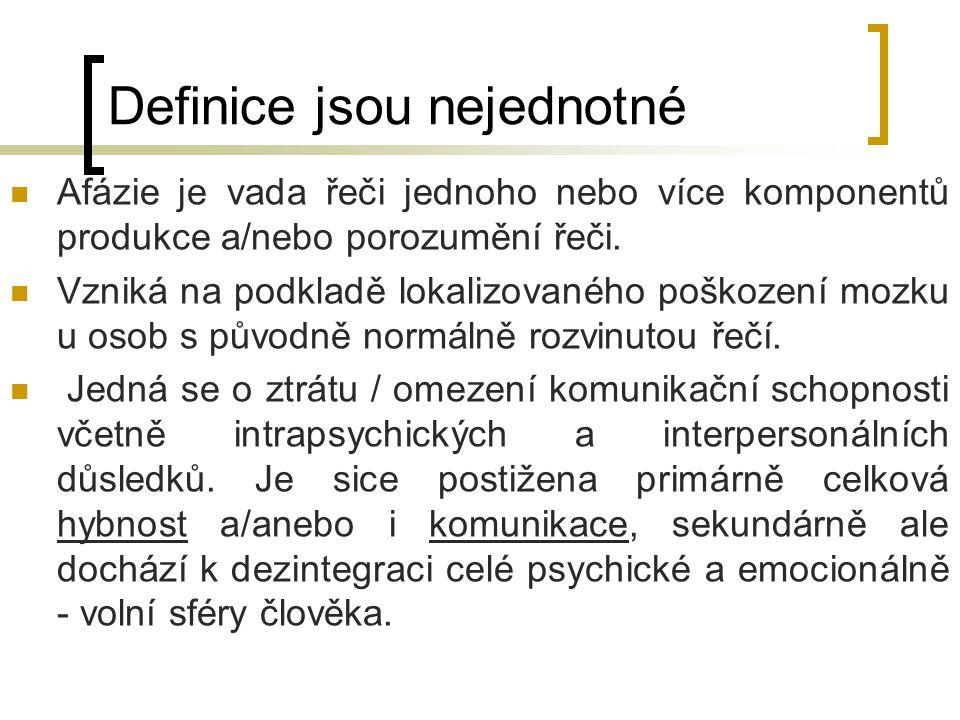 Definice jsou nejednotné