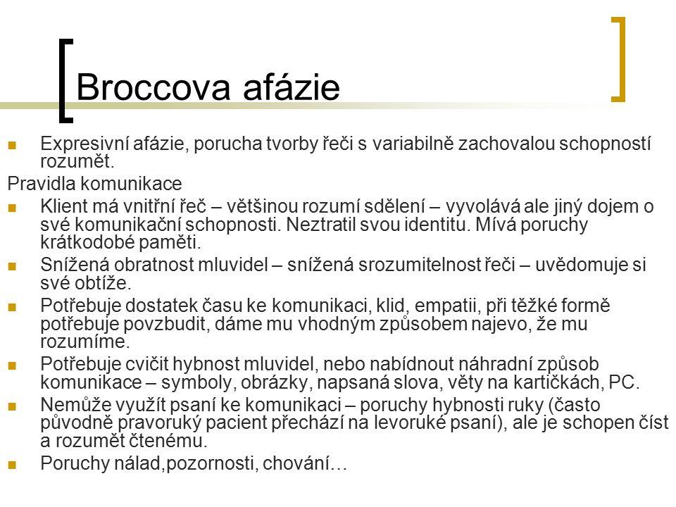 Broccova afázie Expresivní afázie, porucha tvorby řeči s variabilně zachovalou schopností rozumět. Pravidla komunikace.