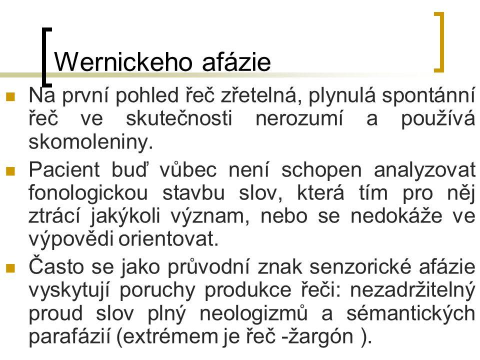 Wernickeho afázie Na první pohled řeč zřetelná, plynulá spontánní řeč ve skutečnosti nerozumí a používá skomoleniny.