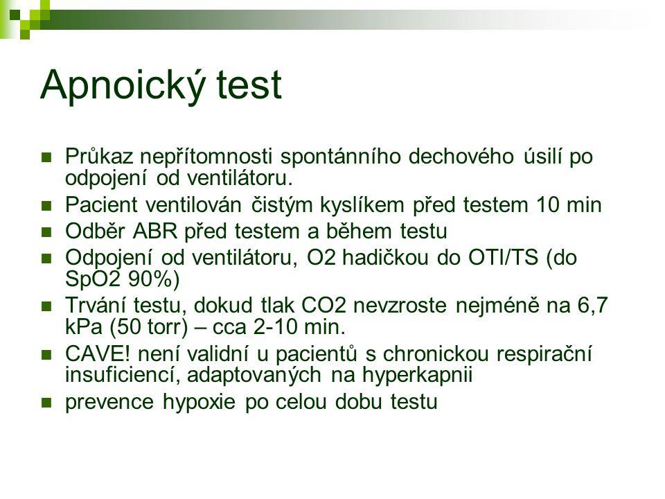 Apnoický test Průkaz nepřítomnosti spontánního dechového úsilí po odpojení od ventilátoru. Pacient ventilován čistým kyslíkem před testem 10 min.