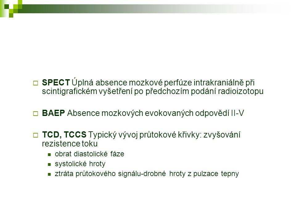 BAEP Absence mozkových evokovaných odpovědí II-V