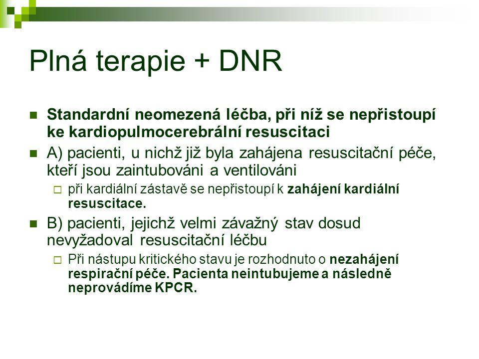 Plná terapie + DNR Standardní neomezená léčba, při níž se nepřistoupí ke kardiopulmocerebrální resuscitaci.