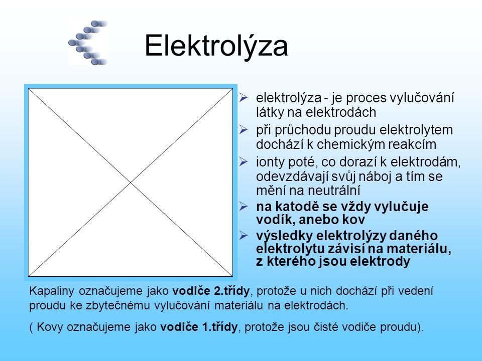 Elektrolýza elektrolýza - je proces vylučování látky na elektrodách