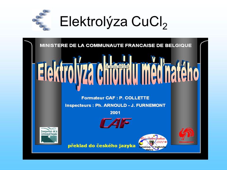 Elektrolýza CuCl2 Chlorid měďnatý CuCl2 je ve vodném roztoku ionizován na měďnaté kationty Cu2+ a chloridové anionty Cl-.