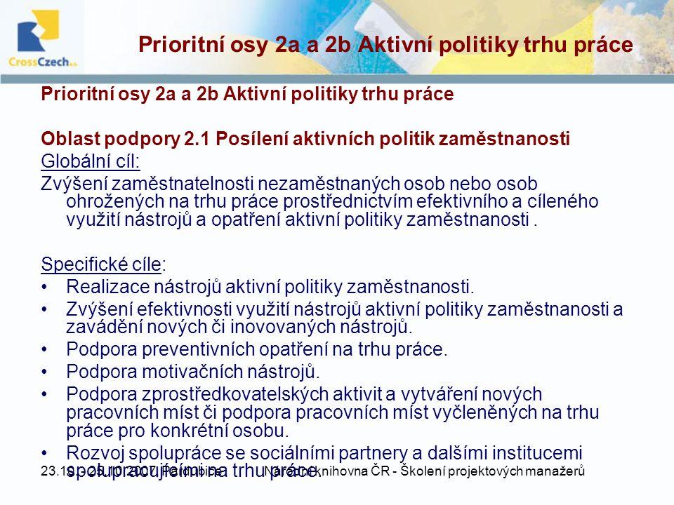 Prioritní osy 2a a 2b Aktivní politiky trhu práce