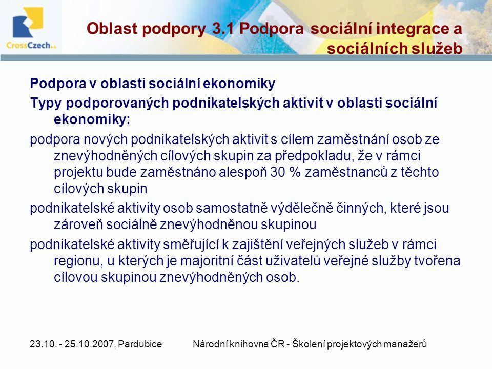 Oblast podpory 3.1 Podpora sociální integrace a sociálních služeb