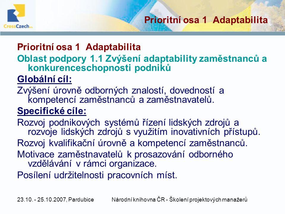 Prioritní osa 1 Adaptabilita