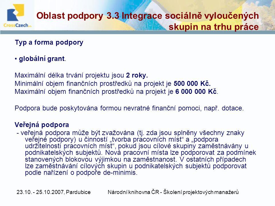 Oblast podpory 3.3 Integrace sociálně vyloučených skupin na trhu práce