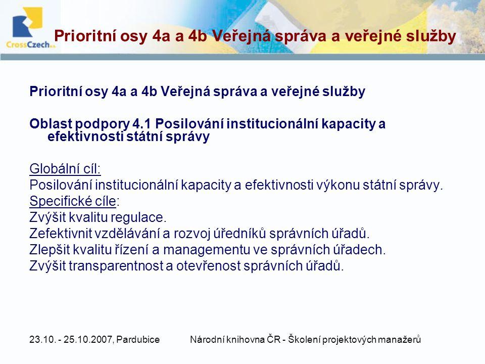 Prioritní osy 4a a 4b Veřejná správa a veřejné služby