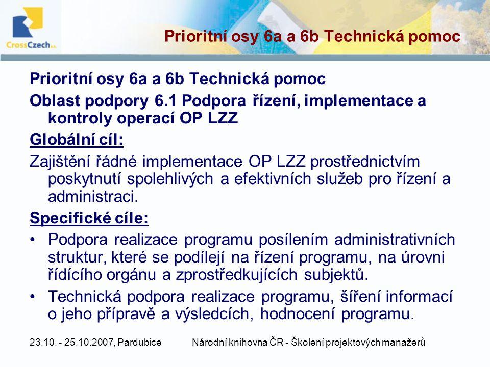 Prioritní osy 6a a 6b Technická pomoc