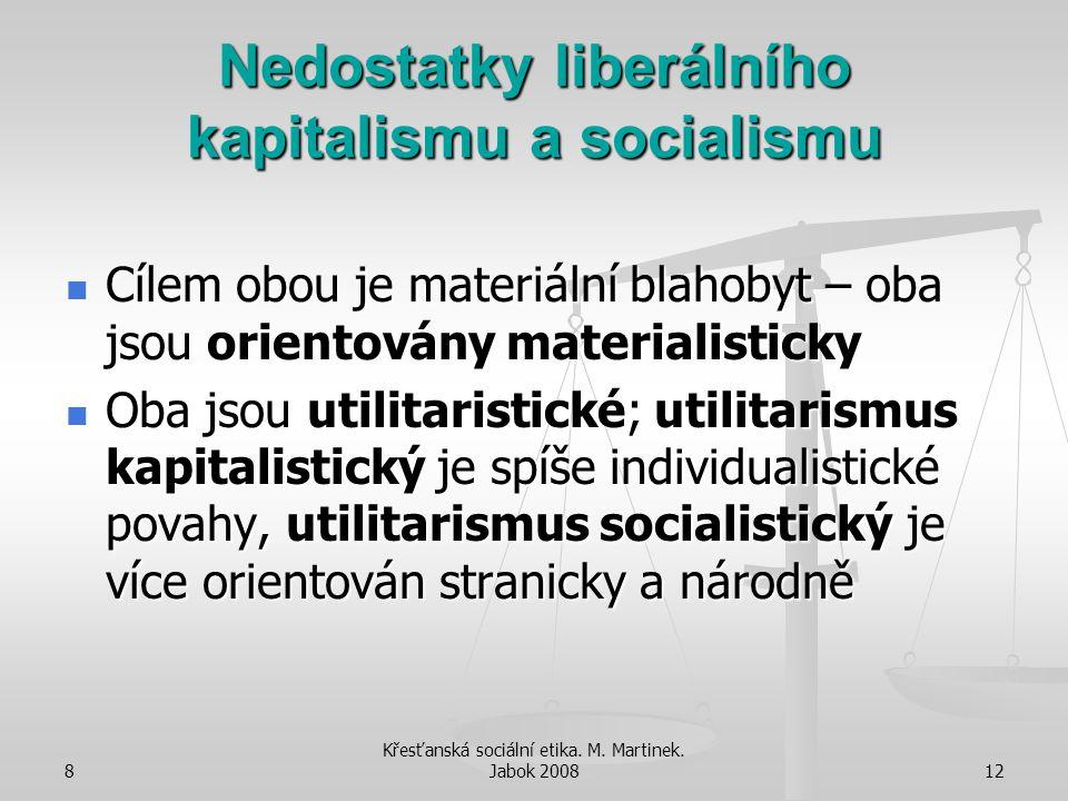 Nedostatky liberálního kapitalismu a socialismu