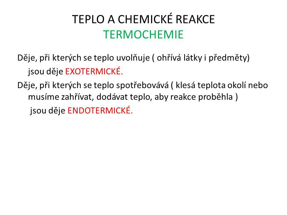 TEPLO A CHEMICKÉ REAKCE TERMOCHEMIE