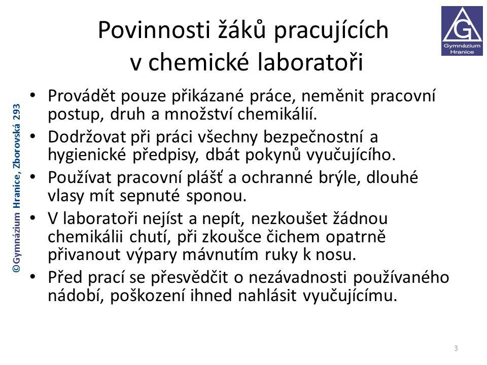 Povinnosti žáků pracujících v chemické laboratoři