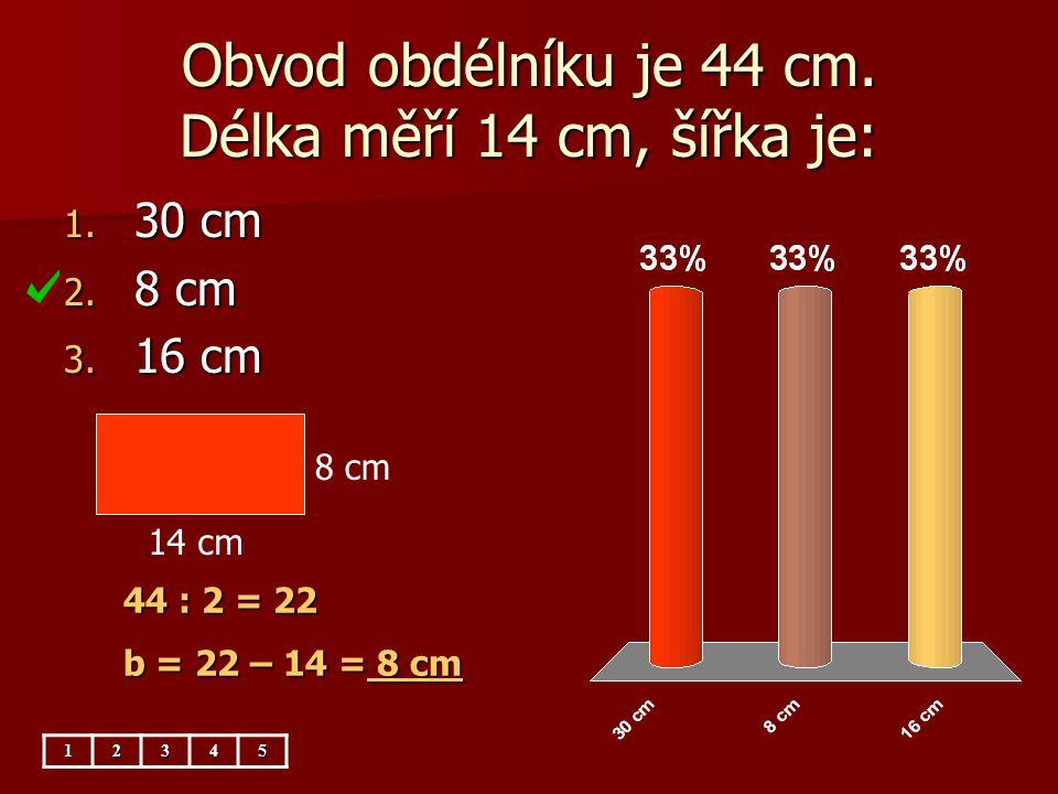 Obvod obdélníku je 44 cm. Délka měří 14 cm, šířka je:
