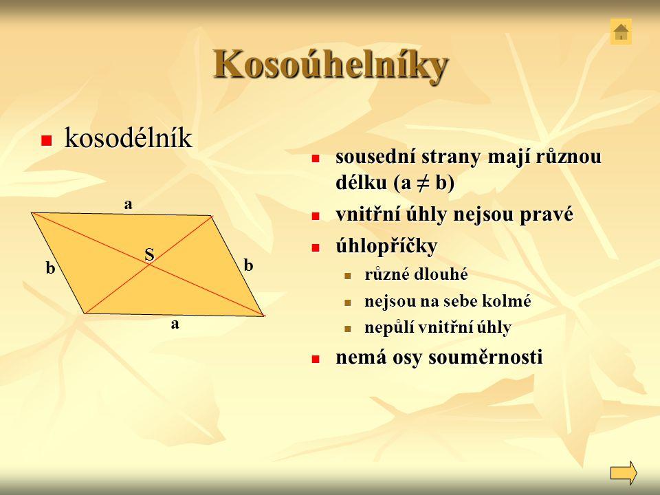 Kosoúhelníky kosodélník sousední strany mají různou délku (a ≠ b)