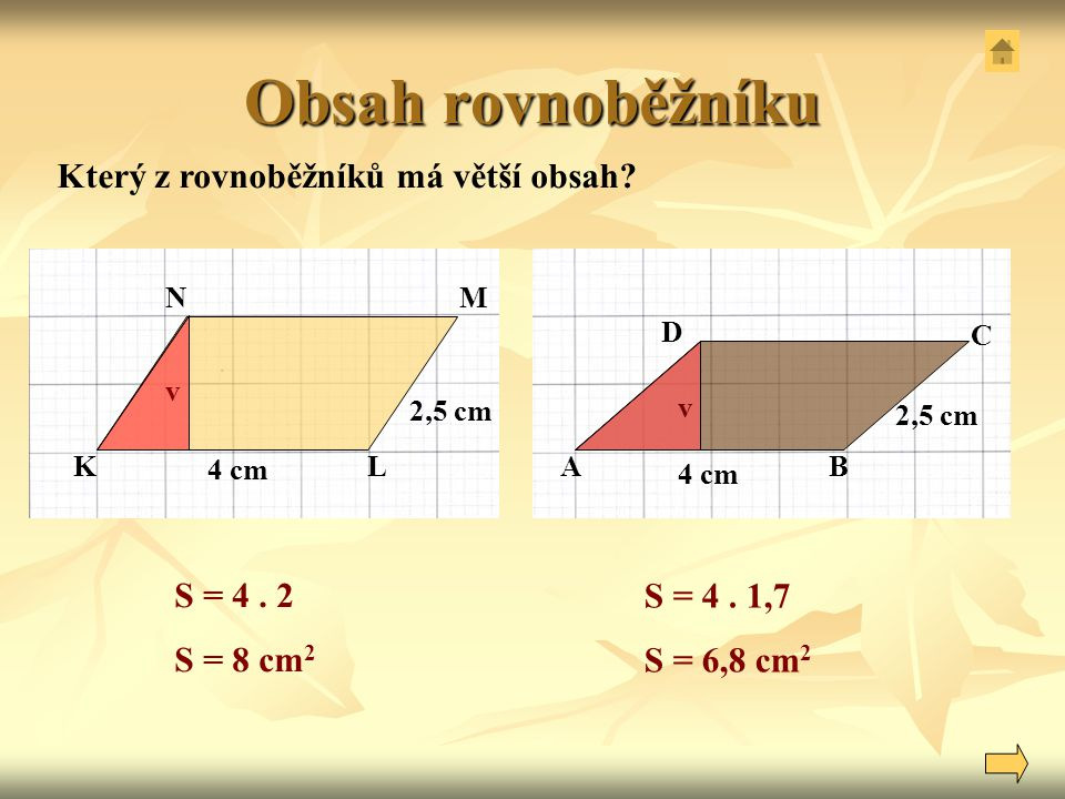 Obsah rovnoběžníku Který z rovnoběžníků má větší obsah S = 4 . 2