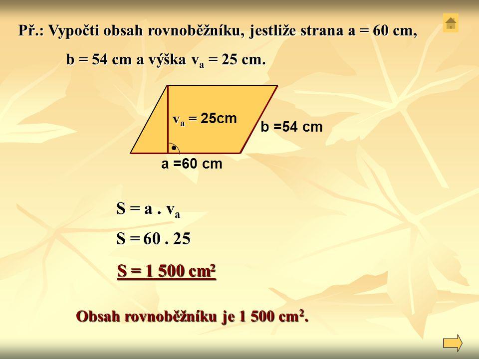 Obsah rovnoběžníku je 1 500 cm2.