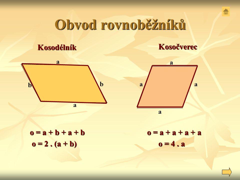 Obvod rovnoběžníků Kosodélník Kosočverec o = a + b + a + b