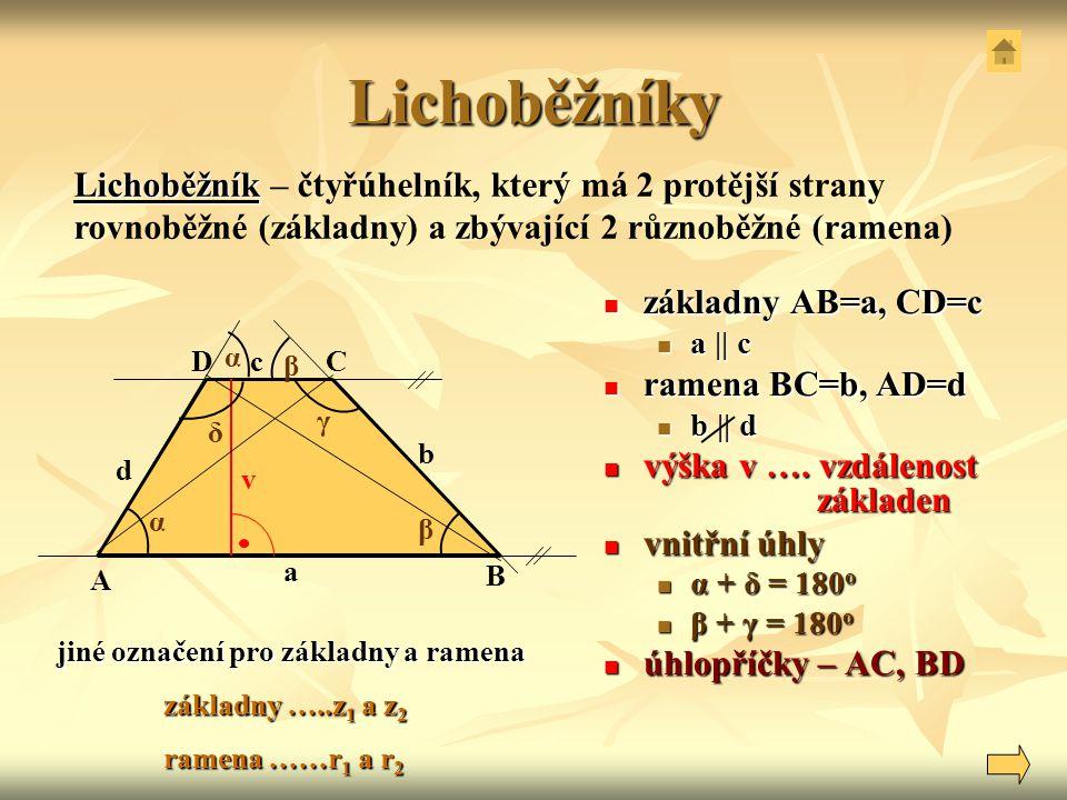 Lichoběžníky Lichoběžník – čtyřúhelník, který má 2 protější strany rovnoběžné (základny) a zbývající 2 různoběžné (ramena)