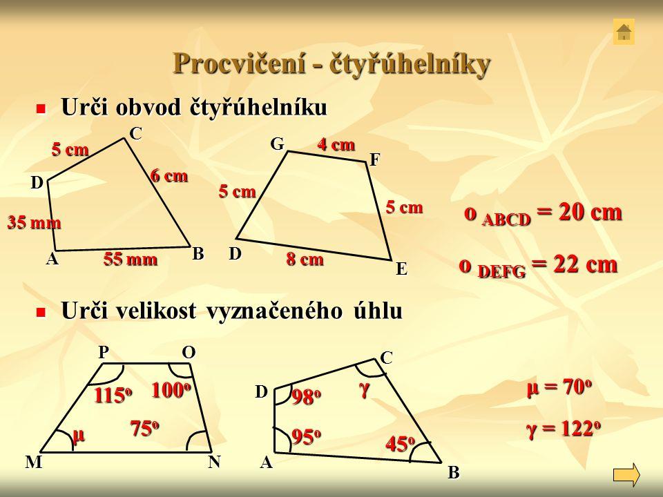 Procvičení - čtyřúhelníky