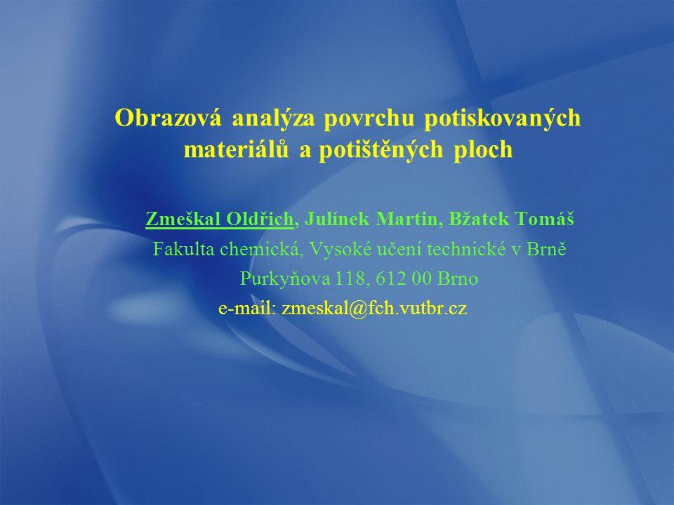Obrazová analýza povrchu potiskovaných materiálů a potištěných ploch