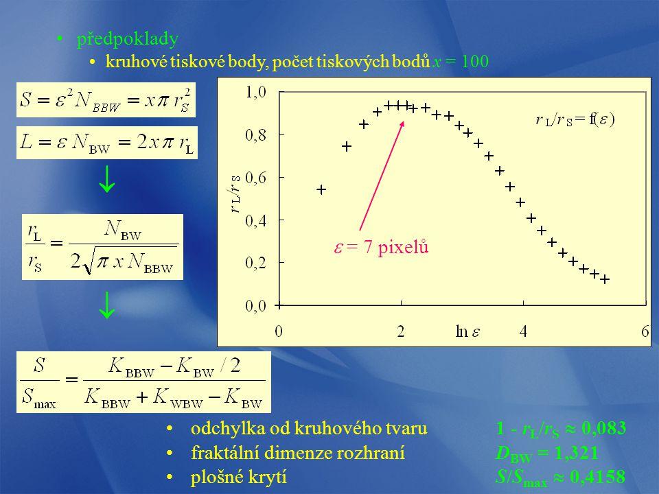   předpoklady e = 7 pixelů