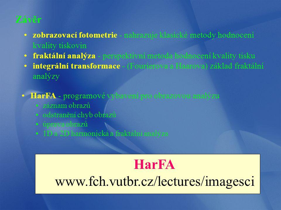 HarFA www.fch.vutbr.cz/lectures/imagesci Závěr