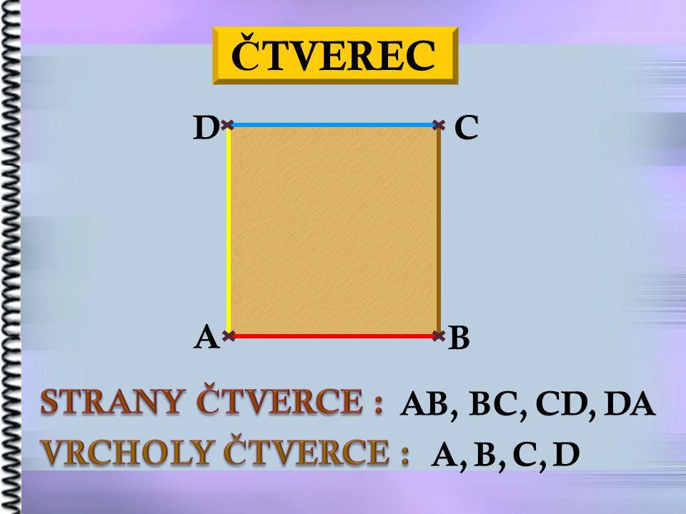 ČTVEREC STRANY ČTVERCE : VRCHOLY ČTVERCE : D C A B AB, BC, CD, DA A,