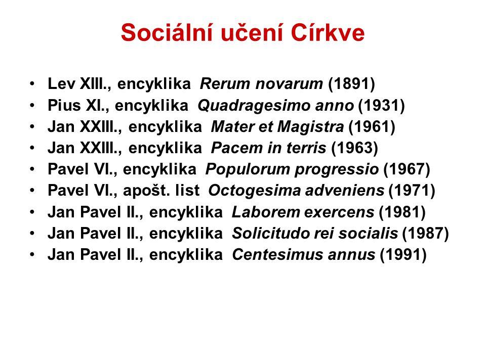 Sociální učení Církve Lev XIII., encyklika Rerum novarum (1891)
