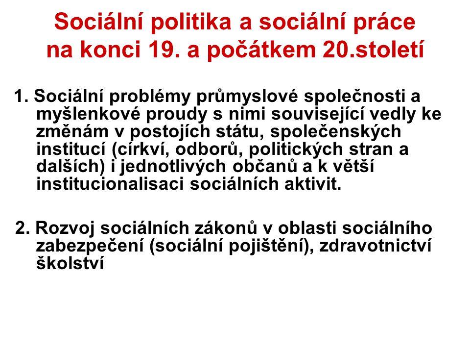 Sociální politika a sociální práce na konci 19. a počátkem 20.století