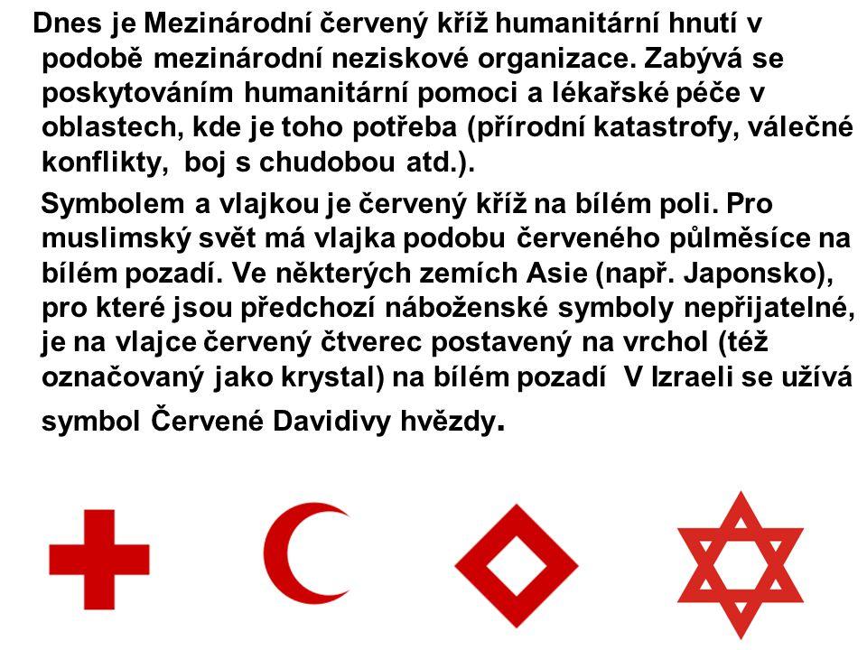 Dnes je Mezinárodní červený kříž humanitární hnutí v podobě mezinárodní neziskové organizace. Zabývá se poskytováním humanitární pomoci a lékařské péče v oblastech, kde je toho potřeba (přírodní katastrofy, válečné konflikty, boj s chudobou atd.).